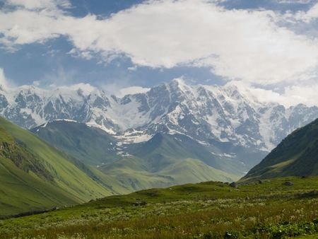 Caucasus mounatin, Swanetia, Shkhara Georgia, Summer time photo