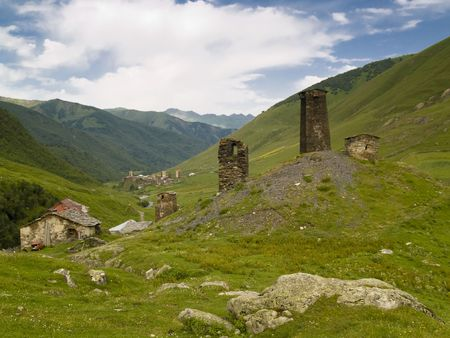 Ushguli, Swanetia, Caucasus, Beauty view summer time. Stock Photo - 4821400