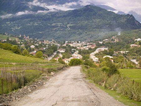 Route to Mestia, small old village in Caucasus mountain. Georgia - Swanetia