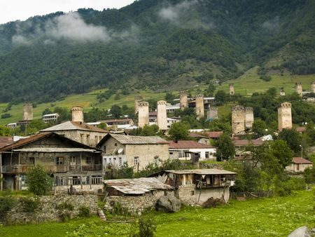 Caucasus village - Mestia. Old towers beauty houses. Georgia Swanetia. Stock Photo - 4869715