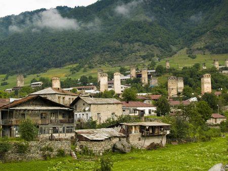 mestia: Caucasus village - Mestia. Old towers beauty houses. Georgia Swanetia.