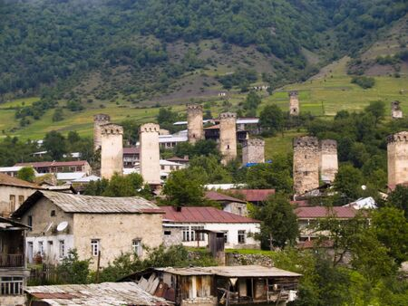 mestia: Towers in Mestia, Georgia, Caucasus mountain. Beauty village