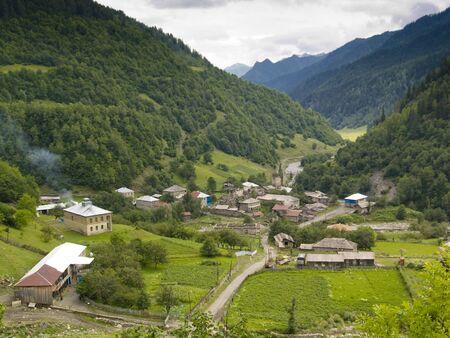 Small beauty village in Swanetia, Georgia, Caucasus Stock Photo - 4869714