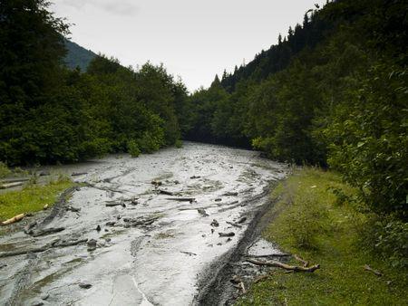 swanetia: Mud on the route in mountain. Rainy time. Georgia Swanetia