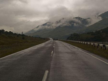 Rainy day in Georgia. Military route to Kazbegi.