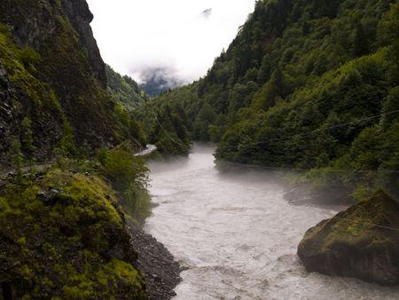 mestia: Foggy wet day. View  on the route to Mestia. Georgia - Caucas Stock Photo