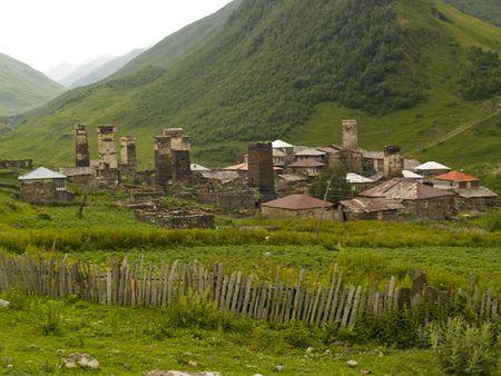 swanetia: Beauty old small village in swanetia. Georgia Caucas