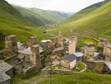 Beauty place in georgia. Swanetia region ushguli village. photo