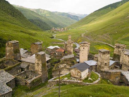 Lieu de beaut� en Georgie. Swanetia r�gion ushguli village.  Banque d'images