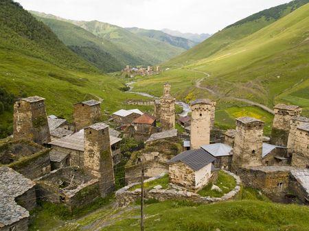 shkhara: Beauty place in georgia. Swanetia region ushguli village.
