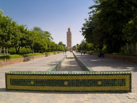 Koutoubia Mosque in Marrakesh, Marocco. Sunny summer day. photo