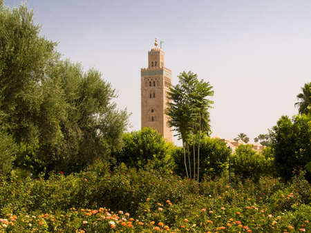 marocco: Green park and in background Koutoubia mosque. Marocco, Marrakesh