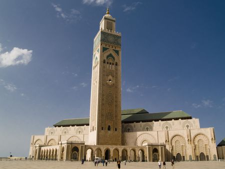 Mosque Hassan II in Casablanca, Morocco. Summer day, blue sky. Beauty view