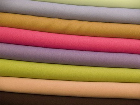A lot of colorful towels on the market place in Marocco Stock Photo