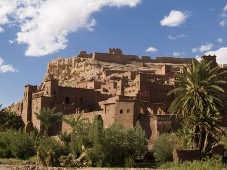 Old Ait Benhaddou clay village in Morocco. Sunny summer day.