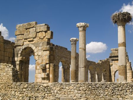 ancients: Volubilis Roman old city, Morocco, and it is declared a UNESCO World Heritage site. Sunny summer day