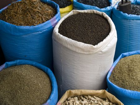 Spices on the market  place on the street. Marocco Stock Photo - 4914055