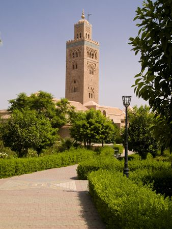 marocco: Mosque Koutoubia Marocco Marrakesh, sunny day blue sky Stock Photo