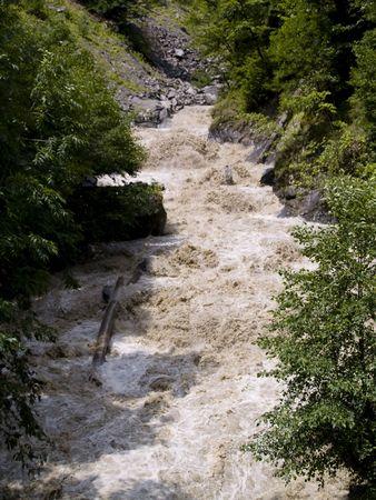 swanetia: Rapid mountain river in Swanetia region after rain.