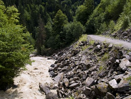 swanetia: Rapid mountain river in Georgia - Caucasus Swanetia region.