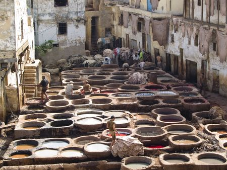 Tanning in Fes, Morocco, hard work. Beauty view Stock Photo