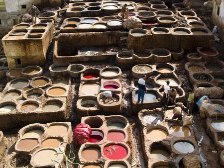 Colorfull tannery in Fes city, Morocco. Summer time Stock Photo