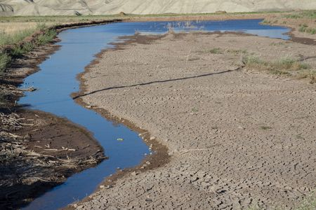 Dry ground small river on the desert - Iran Stock Photo - 5396558