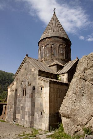 Old beauty UNESCO object Geghard monastyr - Armenia. Summer day Stock Photo - 5415513