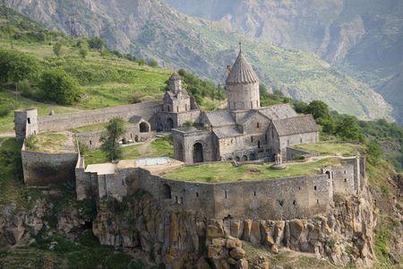 Tatev monastyr in Armenia, Aerial view. Summer day