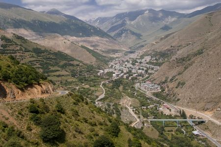 City in valley, aerial view on Kajaran in  Armenia. Stock Photo - 5432420