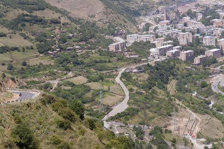 Kajaran city in Armenia, aerial view on city on valley Stock Photo - 5432421