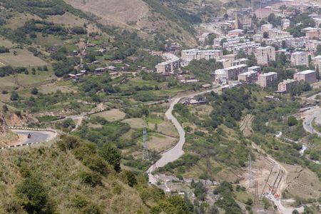 Kajaran city in Armenia, aerial view on city on valley Stock Photo - 5432421