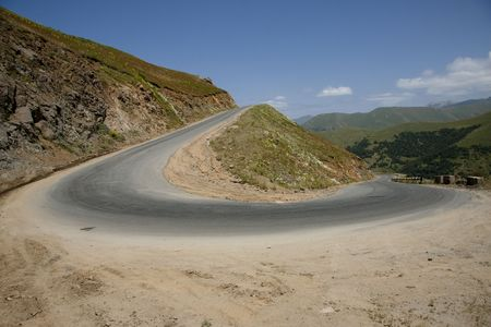 Small mountain route in Armenia. Danger turn