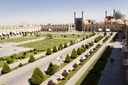 Naqsh-I Jahan Square in Esfahan in Iran. Aerial view
