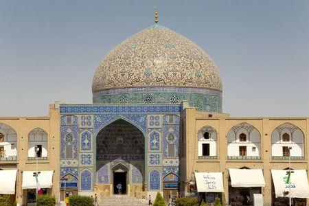 Ispahan, en Iran, vue sur le cheikh Lotf Allah mosqu�e.