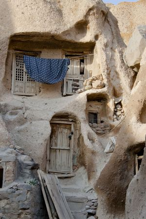 house donkey: Small part of old village Candovan in Iran Stock Photo