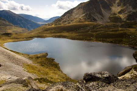 vacance: Aerial view on Pedourres lake in Andorra - Pyrenees mountain Stock Photo