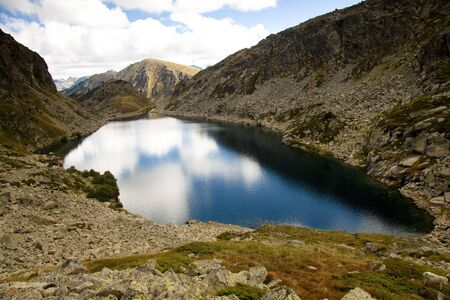 vacance: Aerial view on Couart lake in Andorra - Pyrenees.