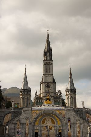 France - Close up of the Cathedral of Lourdes photo