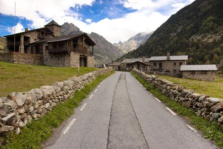 Small stony village in Pyrenees - Andorra. Summer day.