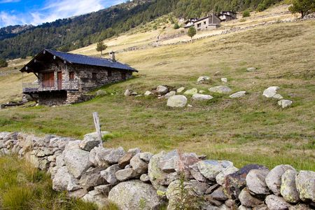 torridity: Small stony cottage, rural view in Pyrenees mountain - Andorra.