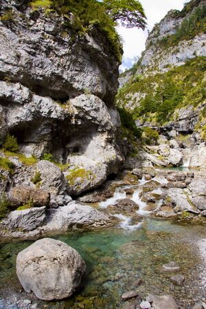 anisclo: River Bellos in big Canyon Anisclo  - Ordesa Nation Park in Pyrenees, Spain  Stock Photo