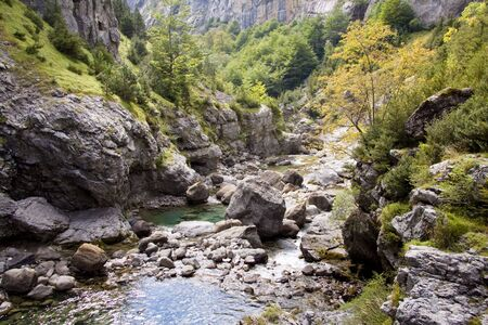 anisclo: River Bellos in big Canyon Anisclo  in Ordesa Nation Park in Pyrenees, Spain. Autumn time. Stock Photo