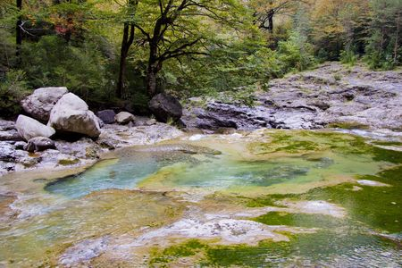 anisclo: Mountain brook in Ordesa Nation park in Spain. Autumn time. Canyon Anisclo.