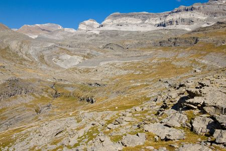 ordesa: View on Monte Perdido Massif. Ordesa National Park in Spain.