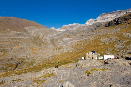 Refuge Goriz in background monte Perdido massif. Ordesa National Park - Spain. photo