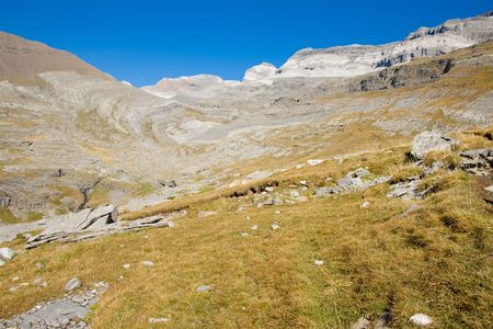 anisclo: View on Monte Perdido Massif. Ordesa National Park in Spain.