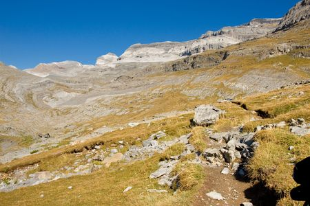 Mountain view - Monte Perdido massif in Spanish National Park  - Ordesa   Sunny autumn day  photo