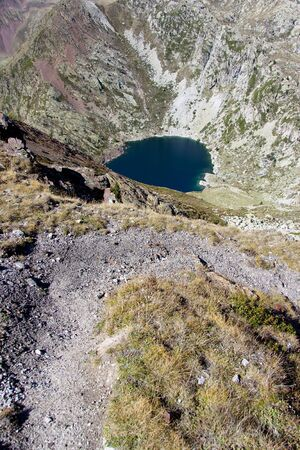 big lake in Aiguestortes National Park. Aerial view on lake. photo
