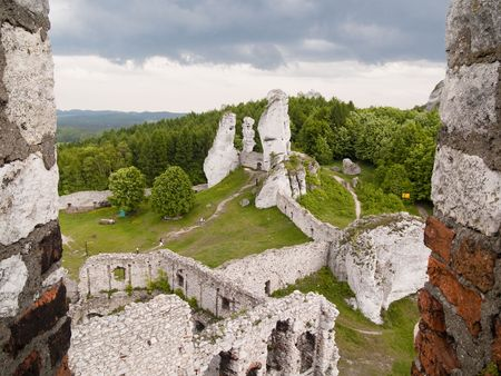 View from window on castle in Ogrodzieniec - Poland. Spring day. photo